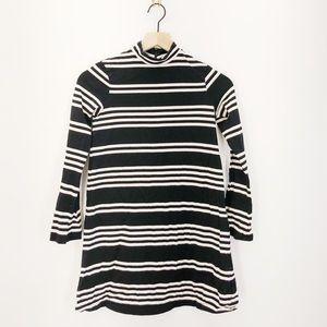Zara Mock Neck Striped Mini Dress Size Small